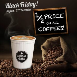 50% off on all beverages (coffee based)